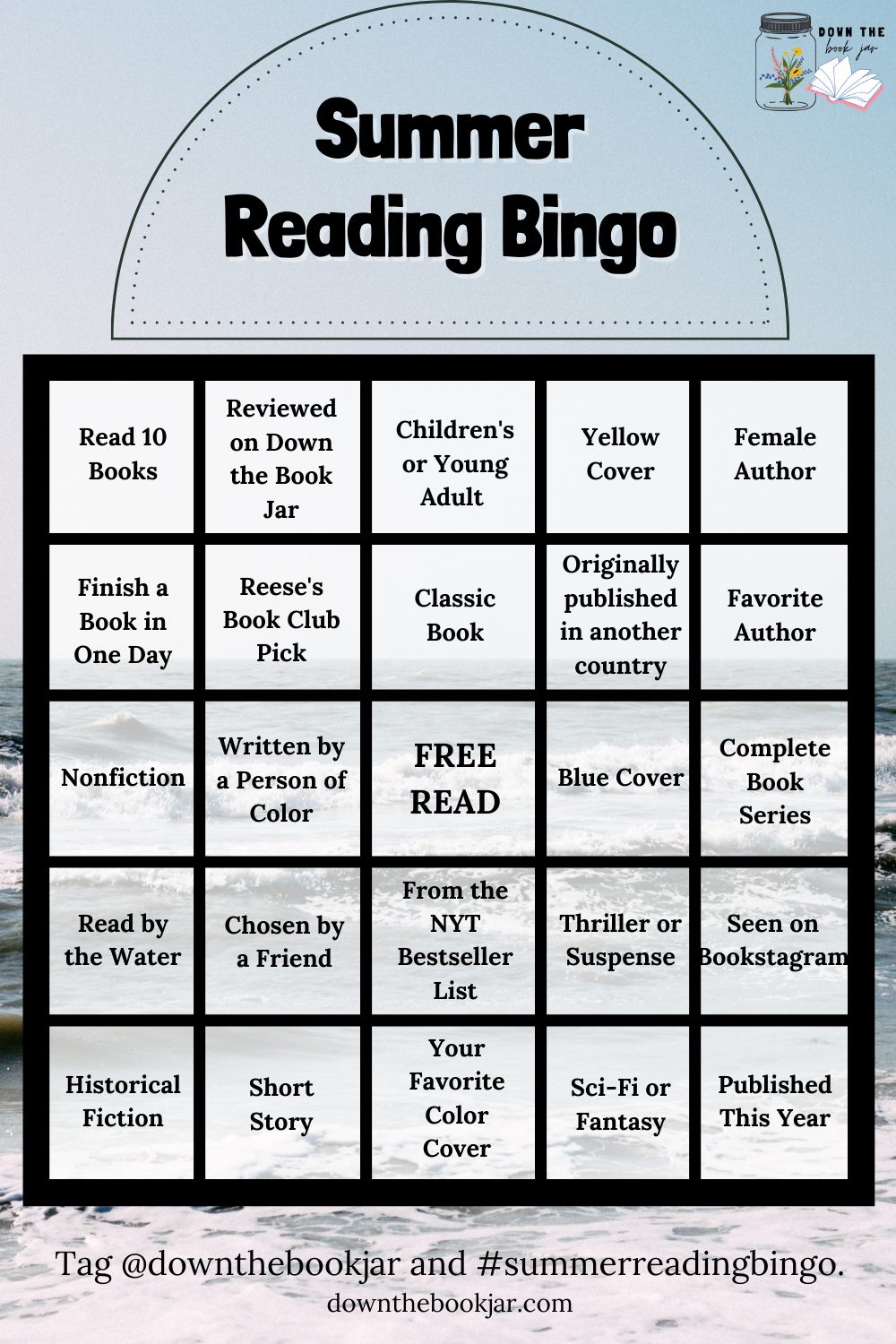 summer reading bingo for adults 5x5 grid with options